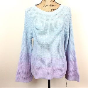 INC Ombré Waffle Knit Bell Sleeve Spring Sweater L